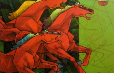 Dinkar Jadhav, Waltzing our way to Happiness, 48x36 inches. 144000