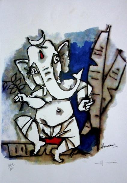 M.F Hussain Painting