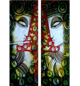 1517. Rakesh Mandal, Radha & Krishna, 11 x 30 inches each, Acrylic on Paper