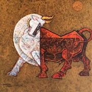 Dinkar Jadhav l Bull II l 18x18inches